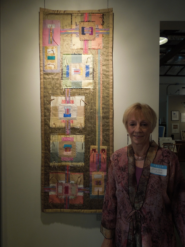 "Xandra Shaw with with her Art Quilt ""Ode to Albers."""